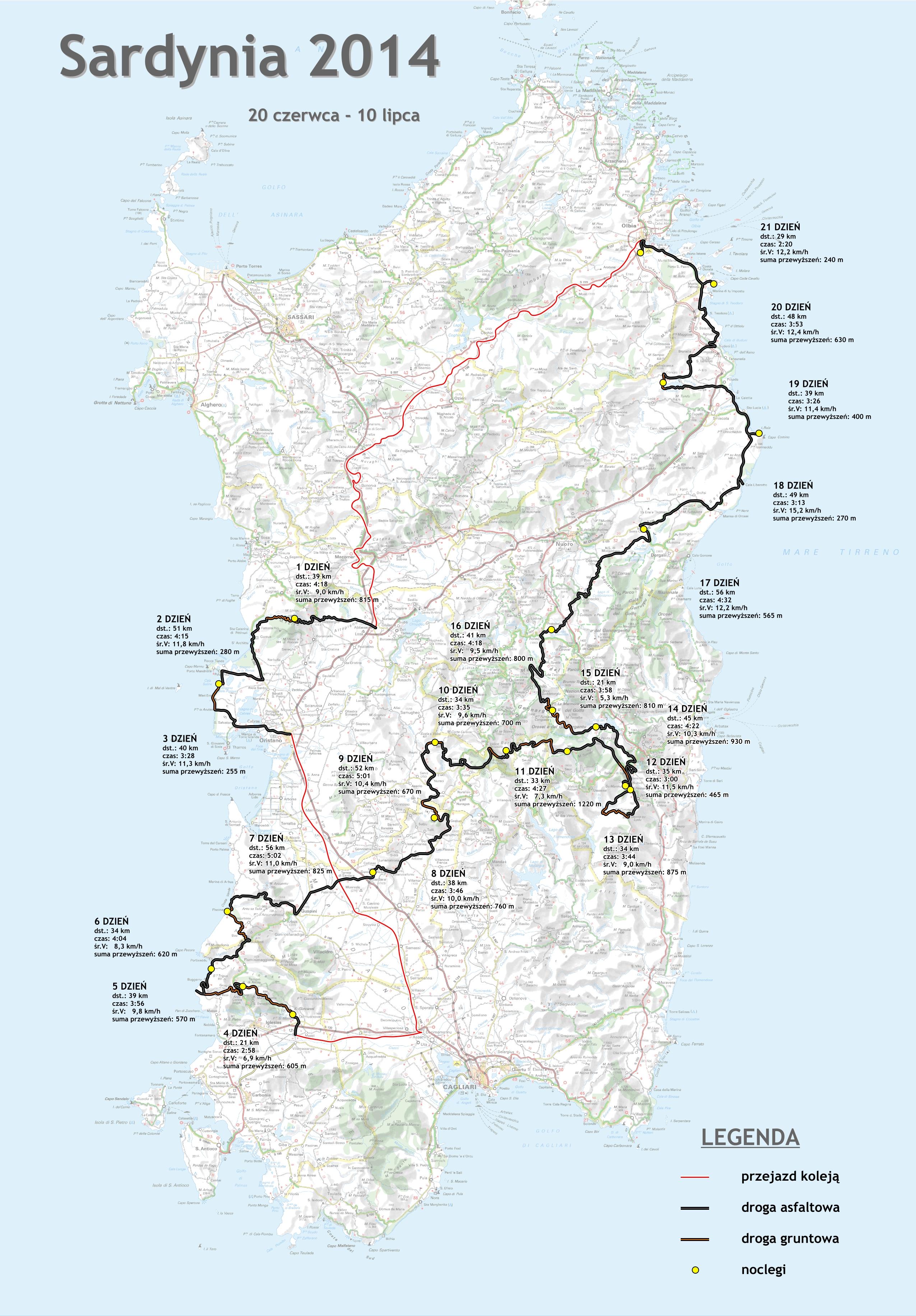 Rowerowarodzinka Pl Sardynia 2014 Mapa Wyprawy